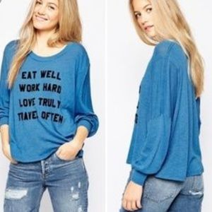 Wildfox Mantra Blue Oversized Jumper Top